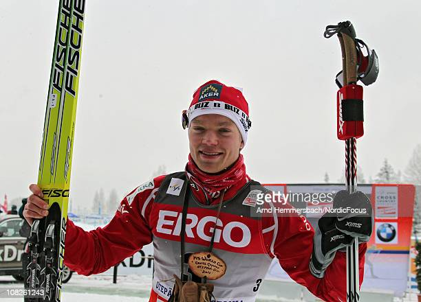 Todays winner Eirik Brandsdahl of Norway poses after the men's individual sprint Cross Country Skiing during the FIS World Cup on January 23 2011 in...