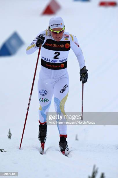 Today's winner Hanna Falk of Sweden competes in the women's individual sprint Cross Country Skiing during the FIS World Cup on January 17 2010 in...