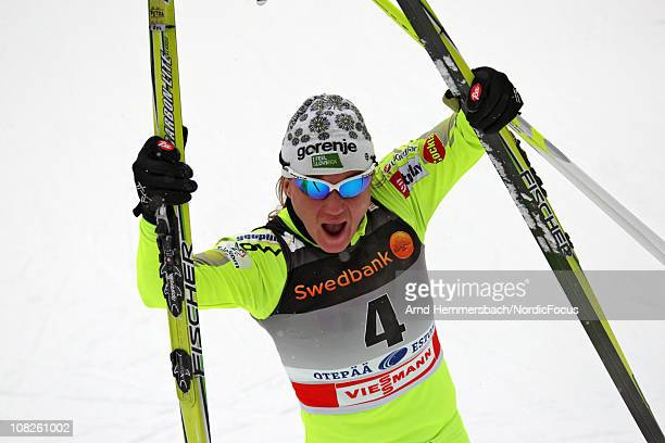 Todays winner Petra Majdic of Slovenia celebrates her victory after the women's individual sprint Cross Country Skiing during the FIS World Cup on...