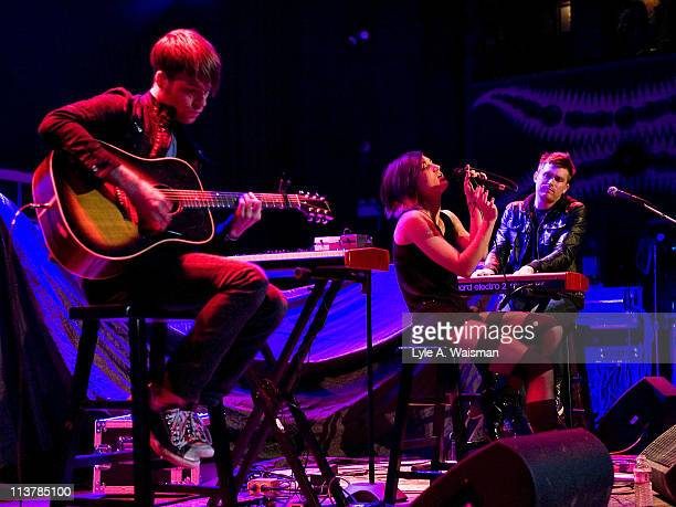 Todd Abels, Patricia Lynn and Justin McHugh of The Soldier Thread perform an acoustic set at the House of Blues Chicago on May 4, 2011 in Chicago,...