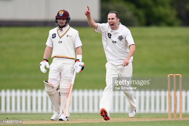 Todd Astle of Canterbury celebrates after dismissing BJ Watling of Northern Districts during the Plunket Shield match between Canterbury and Northern...