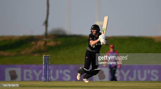 Todd Astle of New Zealand bats during the England and New Zealand warm Up Match prior to the ICC Men's T20 World Cup at on October 20, 2021 in Abu...