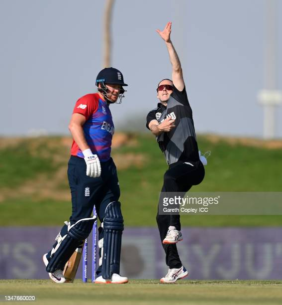 Todd Astle of New Zealand bowls during the England and New Zealand warm Up Match prior to the ICC Men's T20 World Cup at on October 20, 2021 in Abu...