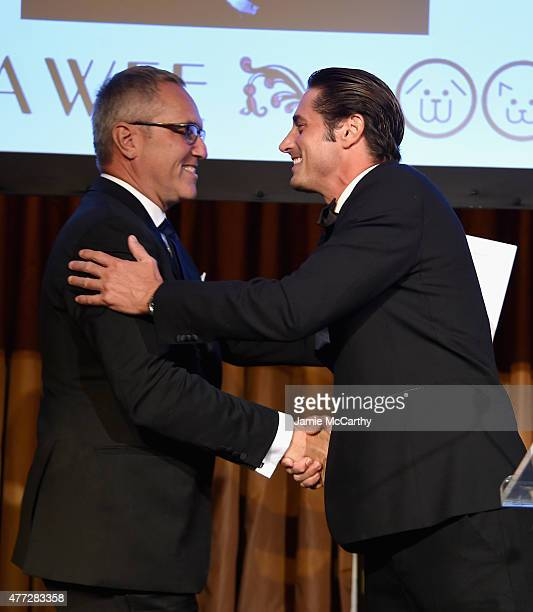 Todd B. Richter and Prince Lorenzo Borghese appear onstage during the 2015 Bideawee Ball with Former Bachelor Star Prince Lorenzo Borghese on June...