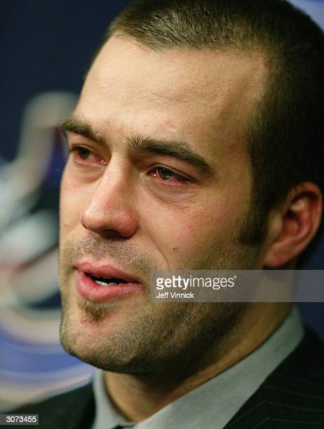 Todd Bertuzzi of the Vancouver Canucks talks to the media prior to start of the the Canuck's NHL game against the Minnesota Wild at General Motors...