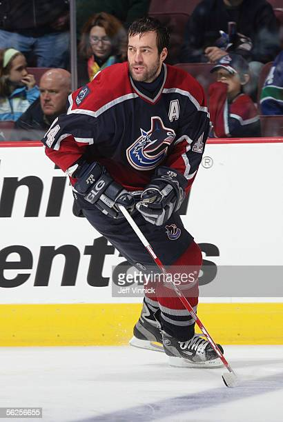 Todd Bertuzzi of the Vancouver Canucks warms up prior to taking on the Detroit Red Wings in an NHL game at General Motors Place on November 13, 2005...