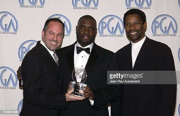 Todd Black Antwone Fisher and Denzel Washington during 14th Annual Producers Guild of America Awards at Century Plaza Hotel in Los Angeles California...