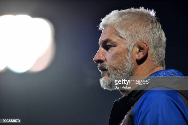 Todd Blackadder Baths Director of Rugby looks on prior to the Aviva Premiership match between Bath Rugby and Wasps at Recreation Ground on December...