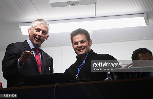 Todd Blackadder Crusaders coach in the coaches box with Richie McCaw and Tabai Matson Assistant coach during the round 20 Super Rugby match between...