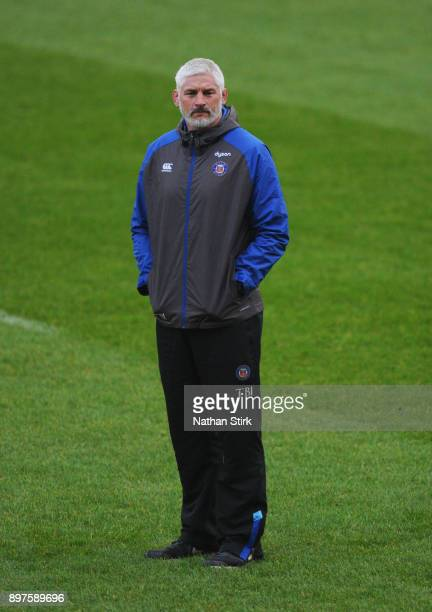 Todd Blackadder Director of Rugby of Bath looks on during the Aviva Premiership match between Sale Sharks and Bath Rugby at AJ Bell Stadium on...