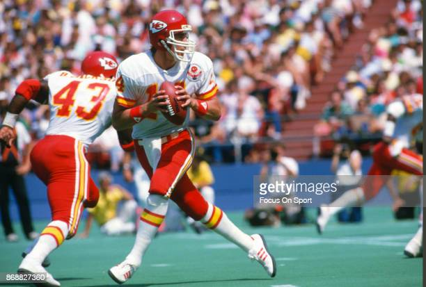 Todd Blackledge of the Kansas City Chiefs drops back to pass against the Pittsburgh Steelers during an NFL football game September 2 1984 at Three...