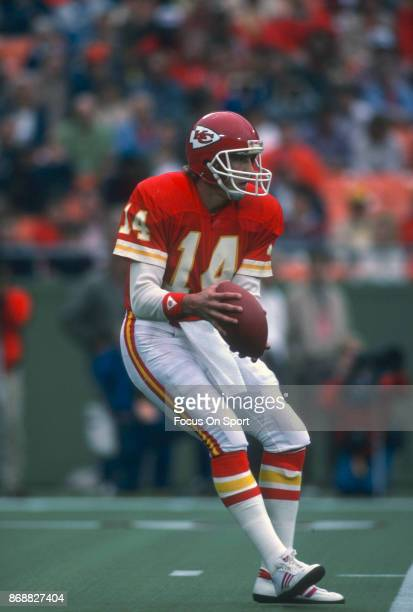 Todd Blackledge of the Kansas City Chiefs drops back to pass against the Los Angeles Rams during an NFL football game October 20 1985 at Arrowhead...