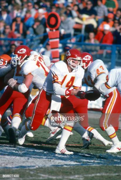 Todd Blackledge of the Kansas City Chiefs in action against the Denver Broncos during an NFL football game December 14 1985 at Mile High Stadium in...