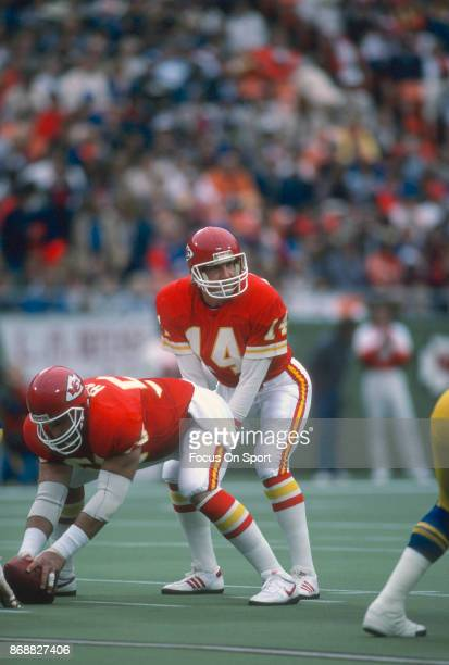 Todd Blackledge of the Kansas City Chiefs in action against the Los Angeles Rams during an NFL football game October 20 1985 at Arrowhead Stadium in...