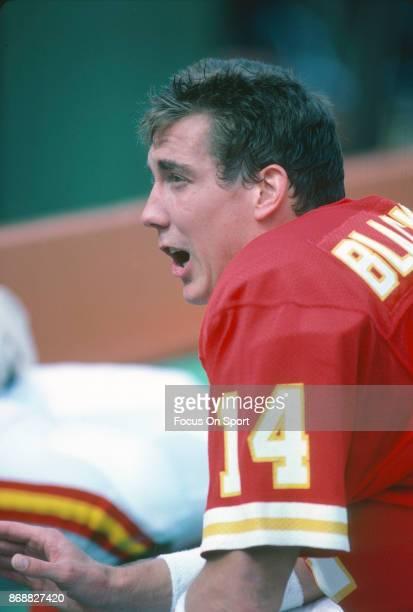 Todd Blackledge of the Kansas City Chiefs looks on during an NFL football game circa 1985 at Arrowhead Stadium in Kansas City Missouri Blackledge...