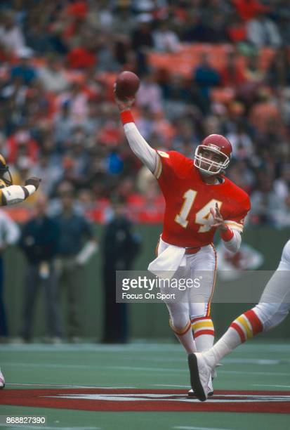 Todd Blackledge of the Kansas City Chiefs throws a pass against the Los Angeles Rams during an NFL football game October 20 1985 at Arrowhead Stadium...
