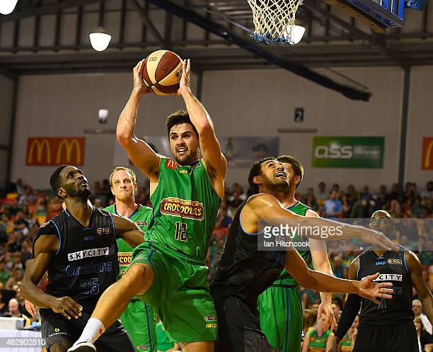Todd Blanchfield of Crocodiles gathers a rebound during the round 18 NBL match between the Townsville Crocodiles and New Zealand Breakers at the...