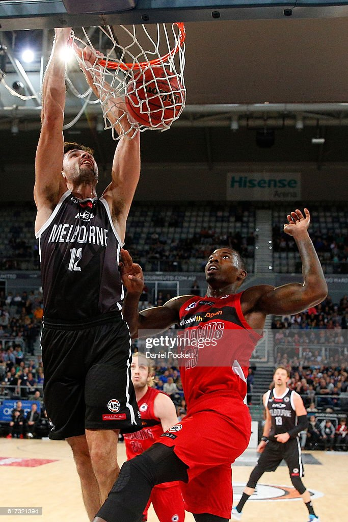 Todd Blanchfield of Melbourne United dunks during the round three NBL match between Melbourne United and the Perth Wildcats at Hisense Arena on October 23, 2016 in Melbourne, Australia.