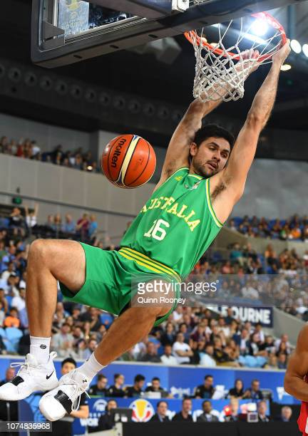 Todd Blanchfield of the Boomers dunks the ball during the FIBA World Cup Qualifier match between the Australian Boomers and Iran at Margaret Court...