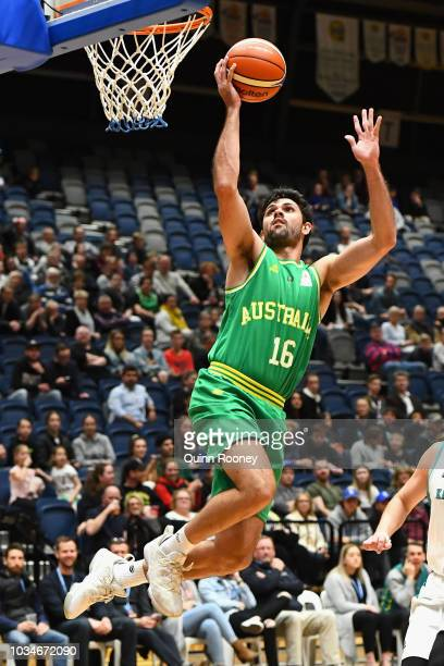 Todd Blanchfield of the Boomers shoots during the FIBA World Cup Qualifier match between the Australian Boomers and Kazakhstan at Bendigo Stadium on...