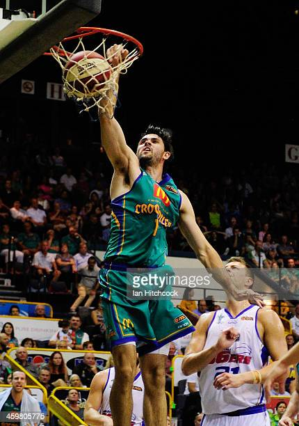 Todd Blanchfield of the Crocodiles does a slam dunk during the round 11 NBL match between the Townsville Crocodiles and the Adelaide 36ers at...