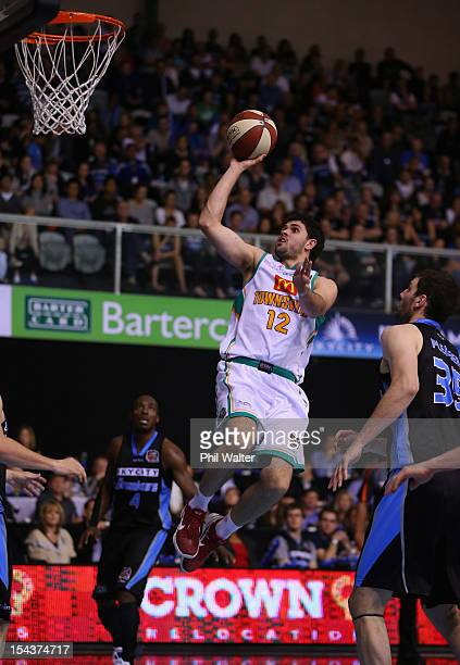 Todd Blanchfield of the Crocodiles dunks the ball during the round three NBL match between the New Zealand Breakers and the Townsville Crocodiles at...