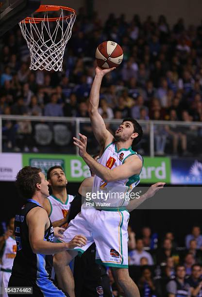 Todd Blanchfield of the Crocodiles lays up the ball during the round three NBL match between the New Zealand Breakers and the Townsville Crocodiles...