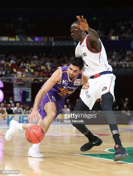 Todd Blanchfield of the Kings drives to the basket during the round one NBL match between the Sydney Kings and the Adelaide 36ers at Qudos Bank Arena...