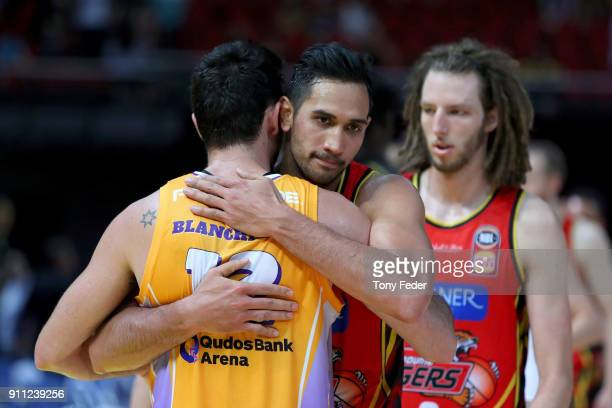 Todd Blanchfield of the Kings hugs Tai Wesley of Melbourne after the game during the round 16 NBL match between the Sydney Kings and Melbourne United...