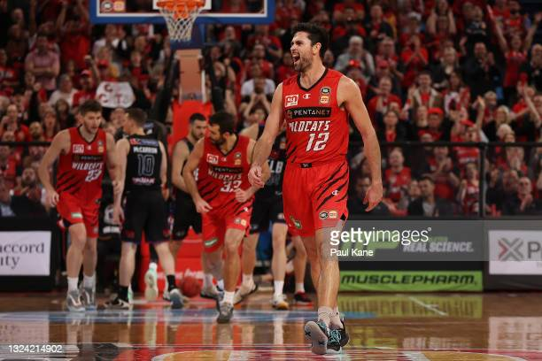 Todd Blanchfield of the Wildcats celebrates a basket during game one of the NBL Grand Final Series between the Perth Wildcats and Melbourne United at...