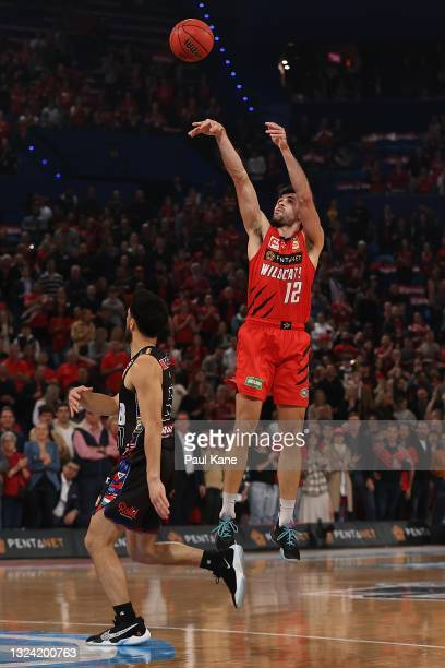 Todd Blanchfield of the Wildcats puts a shot up during game one of the NBL Grand Final Series between the Perth Wildcats and Melbourne United at RAC...