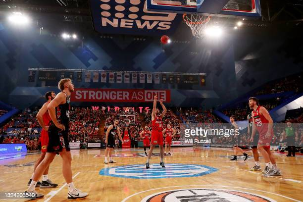 Todd Blanchfield of the Wildcats shoots a free throw during game one of the NBL Grand Final Series between the Perth Wildcats and Melbourne United at...