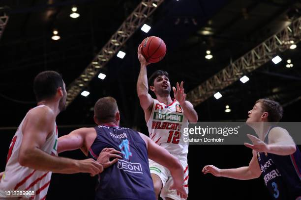 Todd Blanchfield of the Wildcats shoots during the round 13 NBL match between the New Zealand Breakers and Perth Wildcats at Silverdome, on April 13...