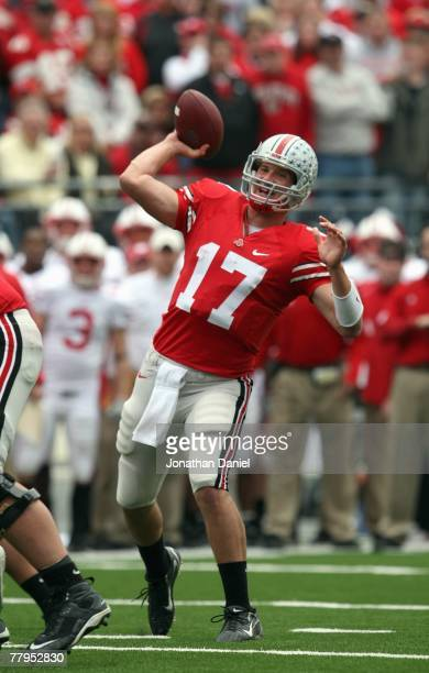 Todd Boeckman of the Ohio State Buckeyes passes the ball during the game against the Wisconsin Badgers on November 3, 2007 at Ohio Stadium in...