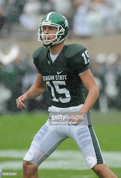 Todd Boleski of the Michigan State Spartans looks on in the rain against the Florida Atlantic University Owls on September 13, 2008 at Spartan...