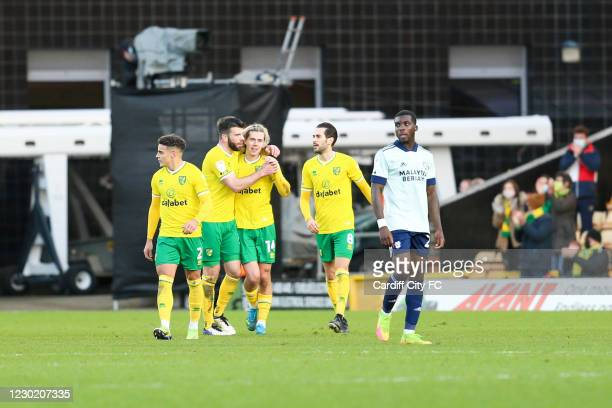 Todd Cantwell celebrates the second goal for Norwich City during the Sky Bet Championship match between Norwich City and Cardiff City at Carrow Road...