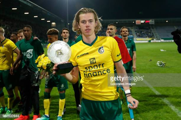 Todd Cantwell of Fortuna Sittard celebrates the promotion with the trophy during the Dutch Jupiler League match between Fortuna Sittard v PSV U23 at...