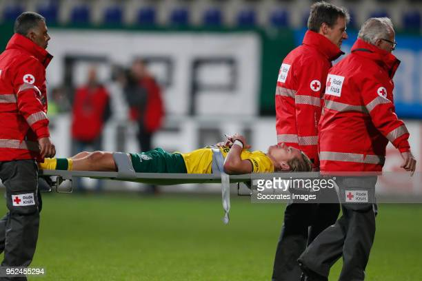 Todd Cantwell of Fortuna Sittard is leaving the pitch injured during the Dutch Jupiler League match between Fortuna Sittard v PSV U23 at the Fortuna...