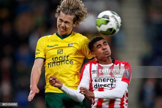 Todd Cantwell of Fortuna Sittard Laros Duarte of PSV U23 during the Dutch Jupiler League match between Fortuna Sittard v PSV U23 at the Fortuna...