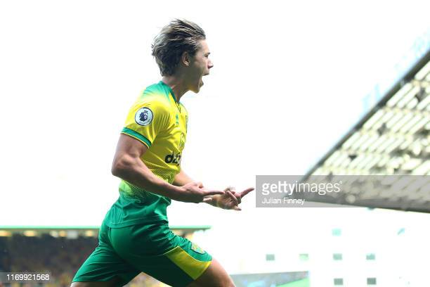 Todd Cantwell of Norwich celebrates scoring to make it 11 during the Premier League match between Norwich City and Chelsea FC at Carrow Road on...