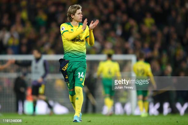 Todd Cantwell of Norwich City acknowledged the fans during the Premier League match between Norwich City and Arsenal FC at Carrow Road on December 01...