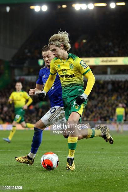 Todd Cantwell of Norwich City and James Maddison of Leicester City compete for the ball during the Premier League match between Norwich City and...