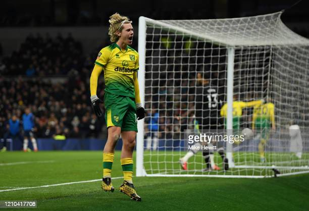 Todd Cantwell of Norwich City celebrates after his teammate Josip Drmic of Norwich City scored their sides first goal during the FA Cup Fifth Round...