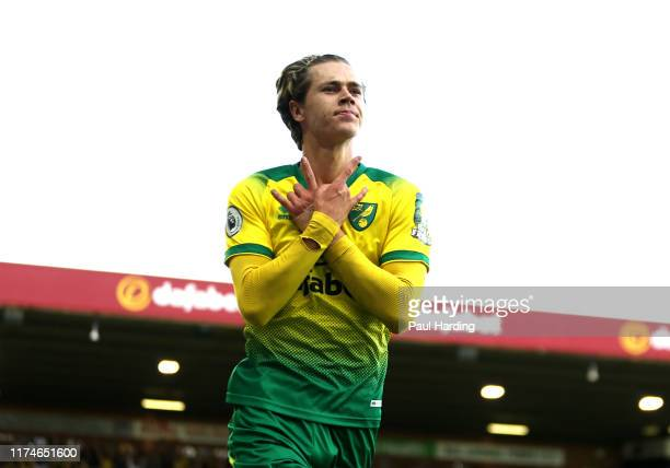 Todd Cantwell of Norwich City celebrates after scoring his team's second goal during the Premier League match between Norwich City and Manchester...