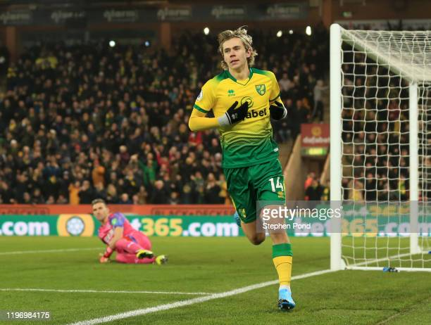 Todd Cantwell of Norwich City celebrates after scoring his team's first goal during the Premier League match between Norwich City and Crystal Palace...