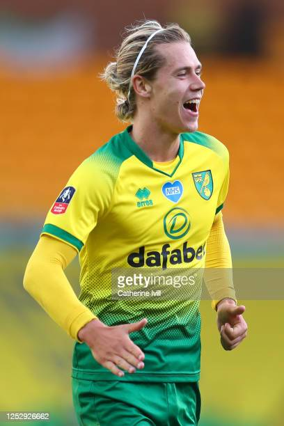 Todd Cantwell of Norwich City celebrates after scoring his teams first goal during the FA Cup Quarter Final match between Norwich City and Manchester...