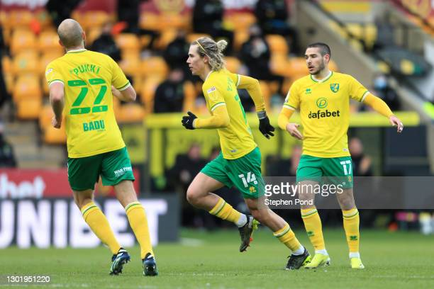 Todd Cantwell of Norwich City celebrates after scoring his team's first goal during the Sky Bet Championship match between Norwich City and Stoke...