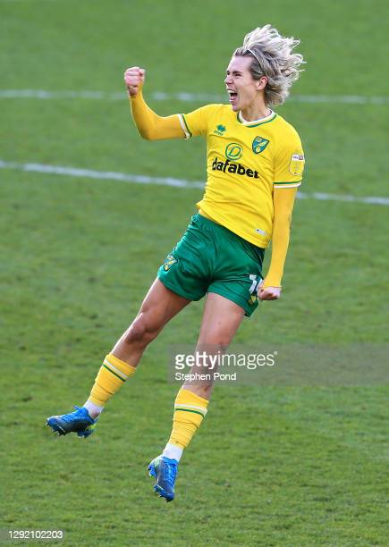 Todd Cantwell of Norwich City celebrates after scoring their sides second goal during the Sky Bet Championship match between Norwich City and Cardiff...