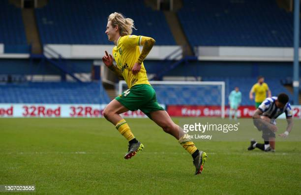 Todd Cantwell of Norwich City celebrates after scoring their side's second goal during the Sky Bet Championship match between Sheffield Wednesday and...