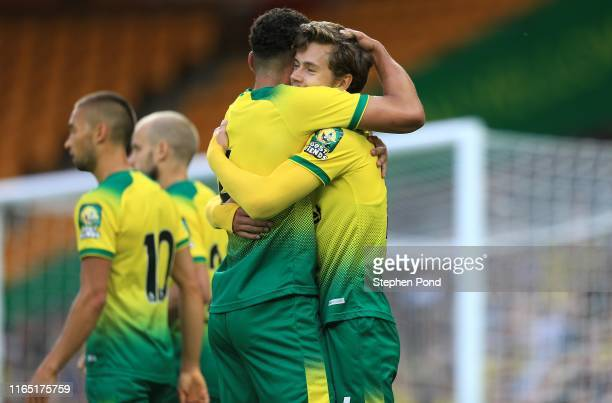 Todd Cantwell of Norwich City celebrates his goal during the pre-season Friendly match between Norwich City and Atalanta at Carrow Road on July 30,...